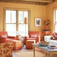 сочетание светлого оранжевого в дизайне квартиры с другими цветами картинка