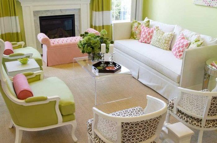 сочетание светлого розового в декоре квартиры с другими цветами