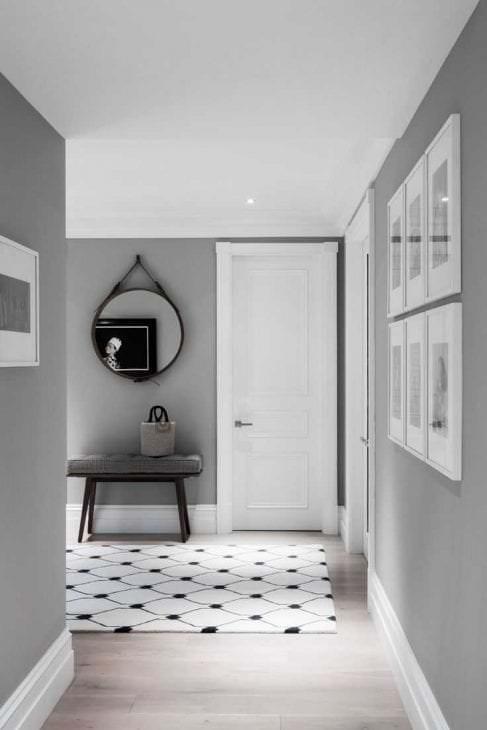 сочетание светлого серого цвета в стиле гостиной