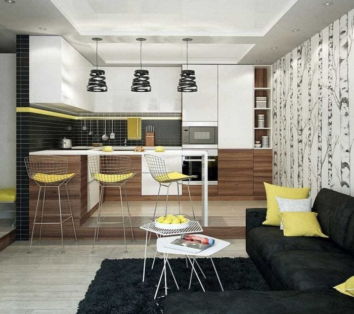 Сочетание коричневого цвета с другими цветами кухни фото