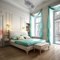 комбинирование светлых штор в дизайне спальни картинка