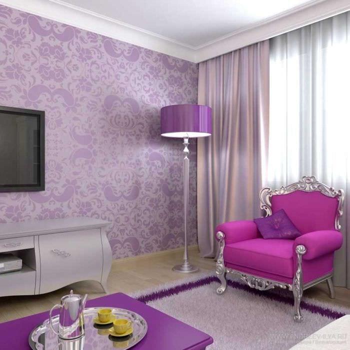комбинирование светлых штор в интерьере спальни
