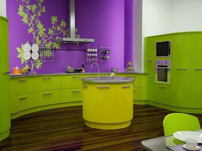 сочетание ярких тонов в декоре кухни
