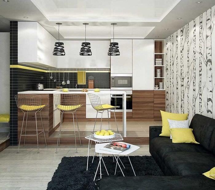 комбинирование темных цветов в интерьере кухни