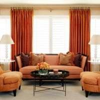 сочетание темного оранжевого в дизайне комнаты с другими цветами фото