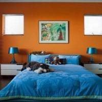 сочетание светлого оранжевого в декоре спальни с другими цветами фото