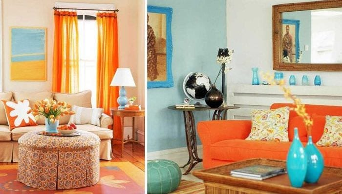 сочетание яркого оранжевого в стиле квартиры с другими цветами