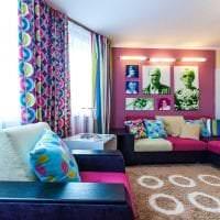 сочетание яркого розового в интерьере спальни с другими цветами фото