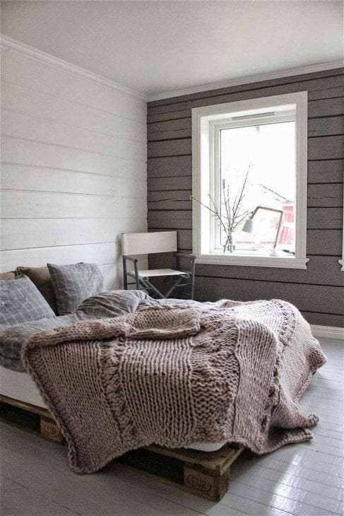 сочетание темного серого цвета в дизайне спальни