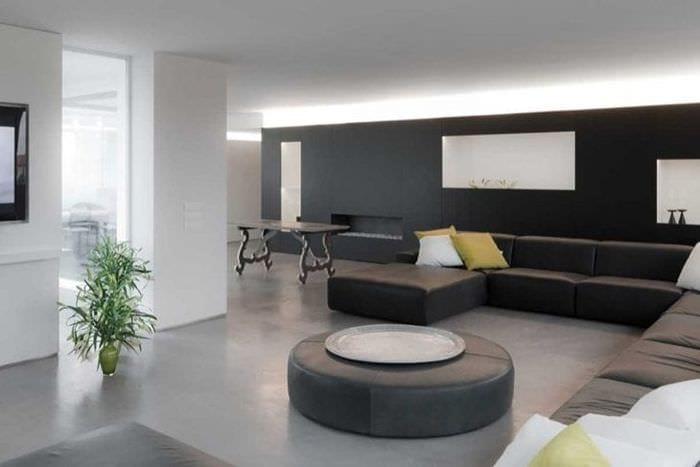 сочетание темного серого в интерьере гостиной с другими цветами