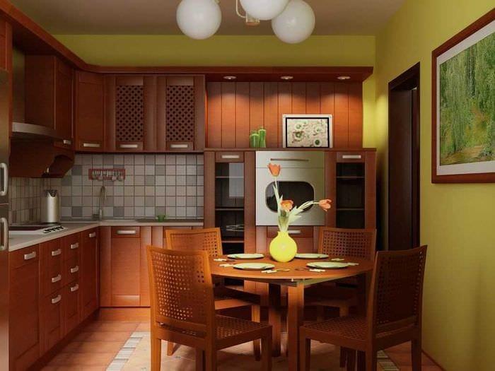сочетание ярких тонов в интерьере кухни