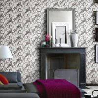 сочетание оригинальных обоев в декоре гостиной картинка