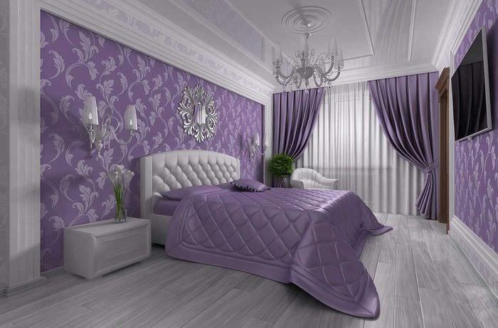комбинирование темных штор в дизайне спальни