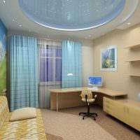 сочетание светлых штор в фасаде гостиной картинка