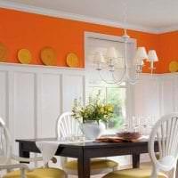 сочетание темного оранжевого в дизайне гостиной с другими цветами картинка