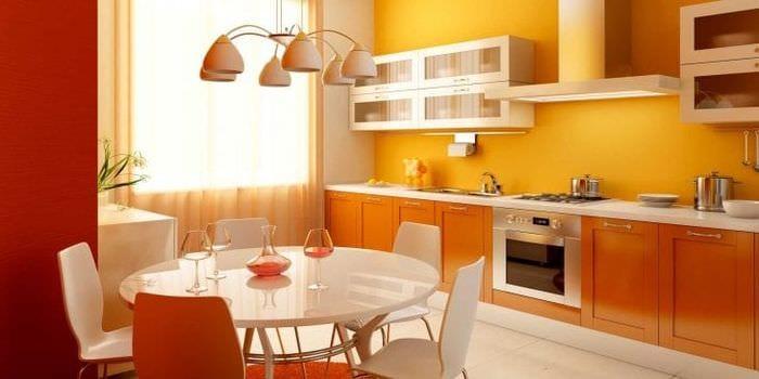 сочетание яркого оранжевого в стиле спальни с другими цветами