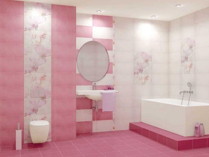 сочетание светлого розового в дизайне кухни с другими цветами