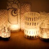 светлое декорирование абажура лампы подручными материалами фото