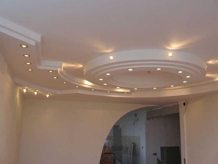 классическое декорирование потолка дополнительном светом