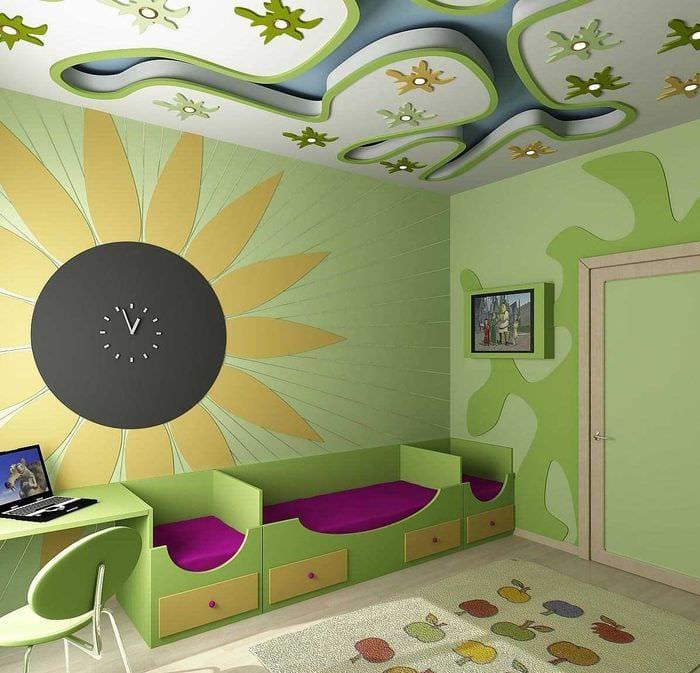 яркое украшение потолка дополнительном светом