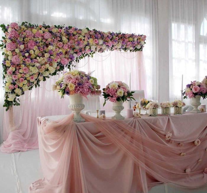 яркое украшение свадебного зала шариками