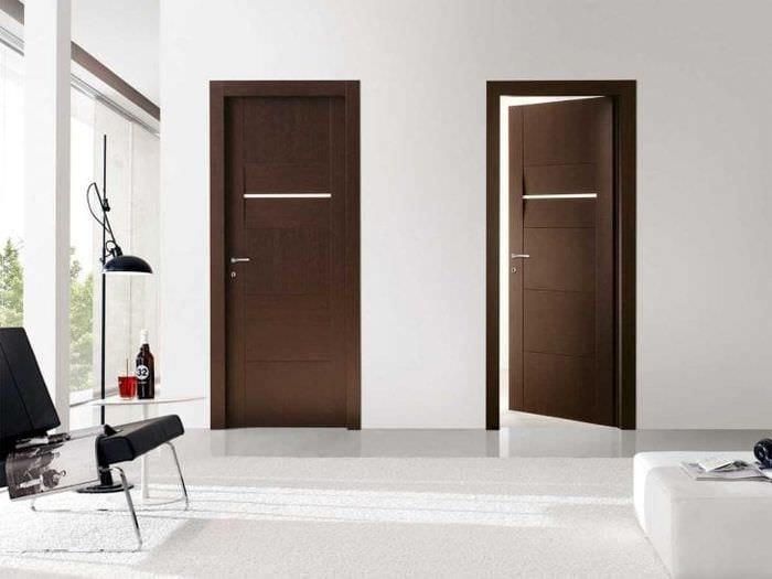 темные двери в дизайне гостиной