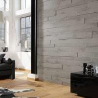 светлый интерьер гостиной со стеновыми панелями картинка
