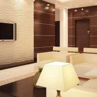 красивый интерьер гостиной со стеновыми панелями картинка