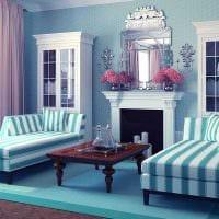 оригинальный декор гостиной в голубом цвете фото