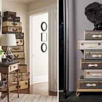 необычный декор комнаты со старыми чемоданами фото