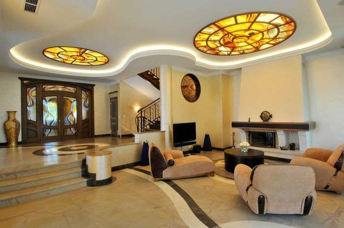 яркий дизайн спальни в стиле модерн