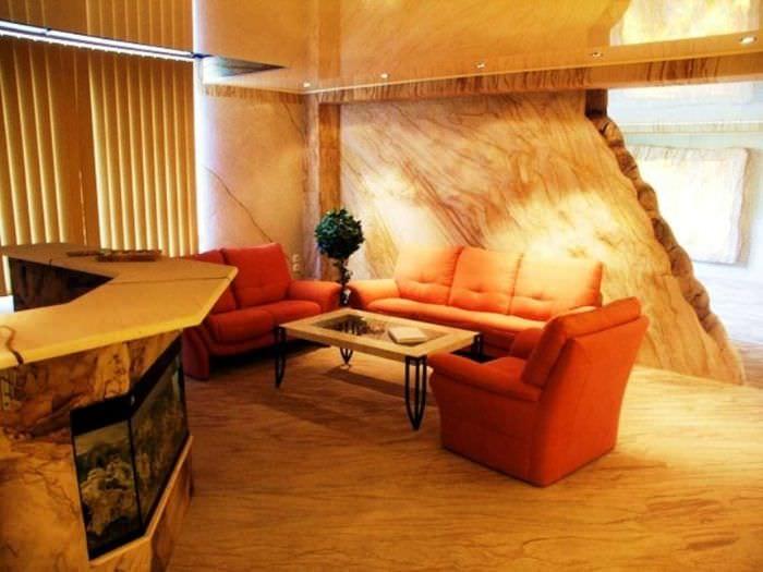 красивый гибкий камень в дизайне комнаты