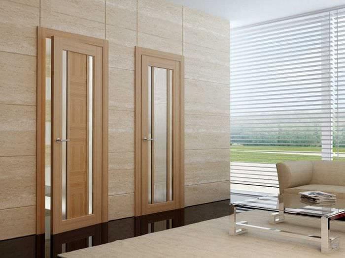 деревянные двери в интерьере спальни