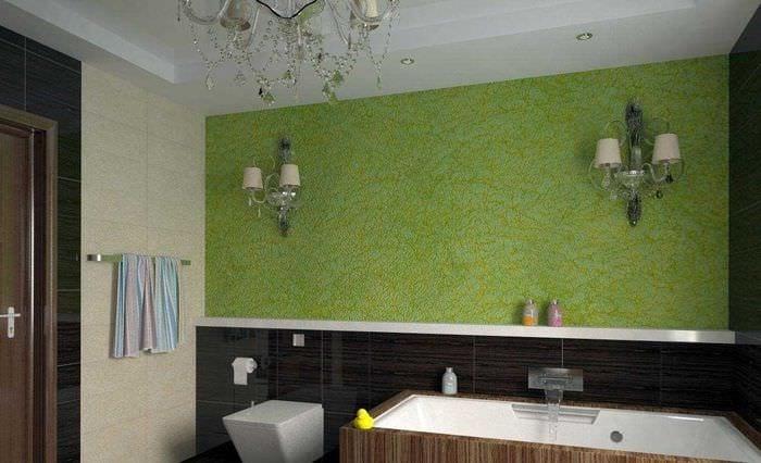 идея оригинальной декоративной штукатурки в дизайне ванной комнаты