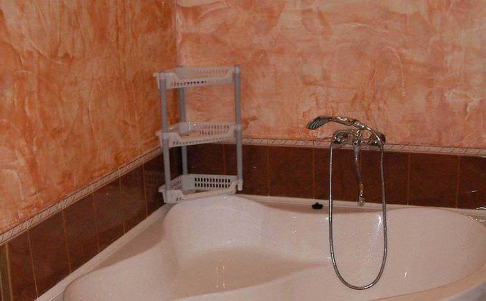 вариант красивой декоративной штукатурки в декоре ванной комнаты