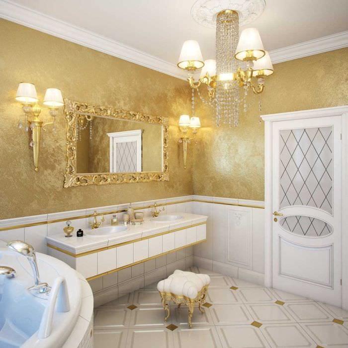 вариант цветной декоративной штукатурки в декоре ванной