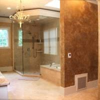 вариант красивой декоративной штукатурки в дизайне ванной комнаты фото