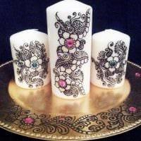 идея оригинального декорирования свечей своими руками фото
