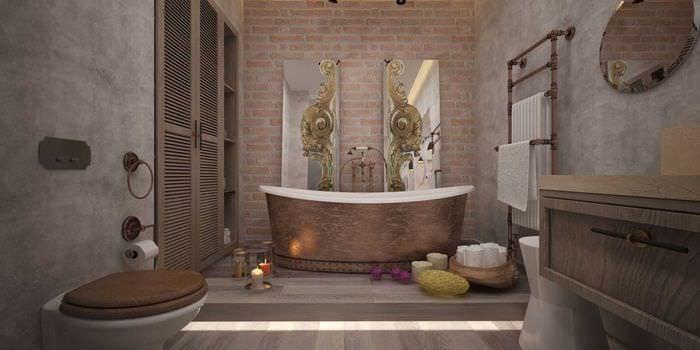 идея цветной декоративной штукатурки в декоре ванной комнаты
