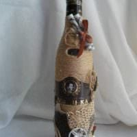 вариант шикарного оформления бутылок шампанского шпагатом картинка
