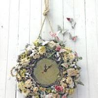 вариант оригинального декорирования настенных часов своими руками фото