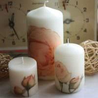 вариант оригинального декорирования свечей своими руками картинка