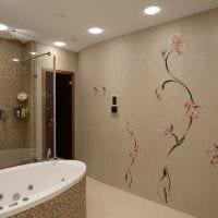 идея красивой декоративной штукатурки в дизайне ванной картинка