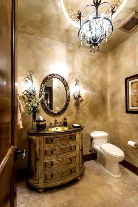 идея яркой декоративной штукатурки в интерьере ванной