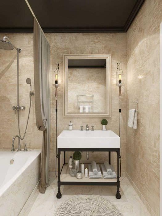 идея красивой декоративной штукатурки в интерьере ванной комнаты