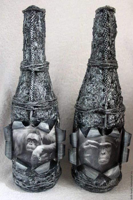 идея шикарного украшения бутылок из кожи своими руками