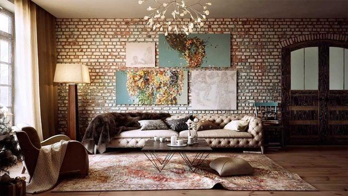 идея яркого декора гостиной комнаты своими руками