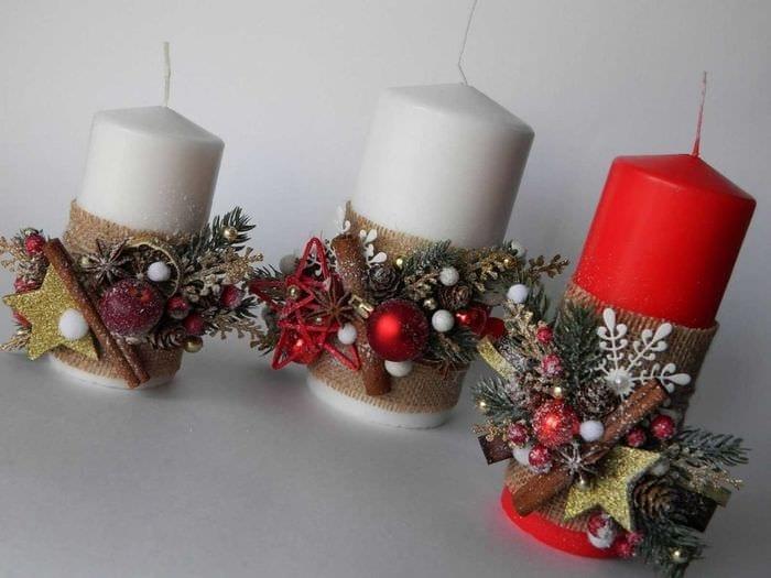 Как украсить новогоднюю свечу своими руками