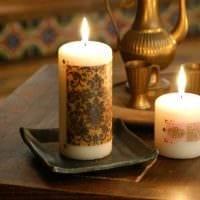 вариант красивого декора свечей своими руками картинка