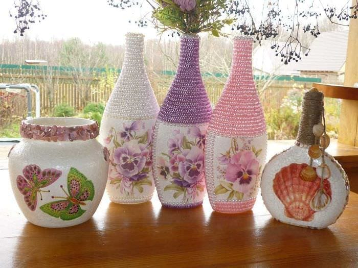 Как украсить вазу своими руками фото 11